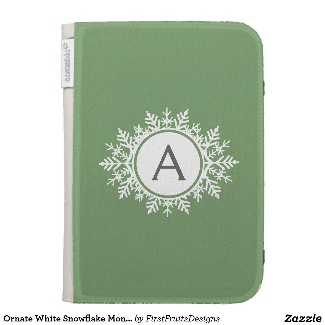 Ornate White Snowflake Monogram on Sage Green Cases For Kindle