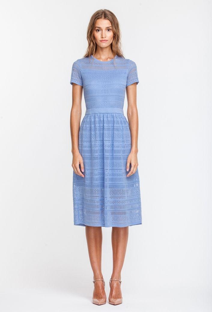 87ec6a77cc1885f 2722 Платье вязаное голубое, ниже колена, юбка в cборочку купить в Украине,  цена