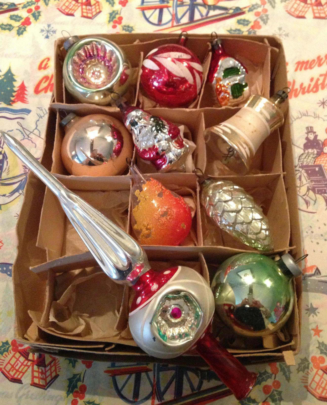 Vintage mercury glass baubles vintage christmas ornaments pinterest no l d co sapin et verre - Boule de noel vintage ...