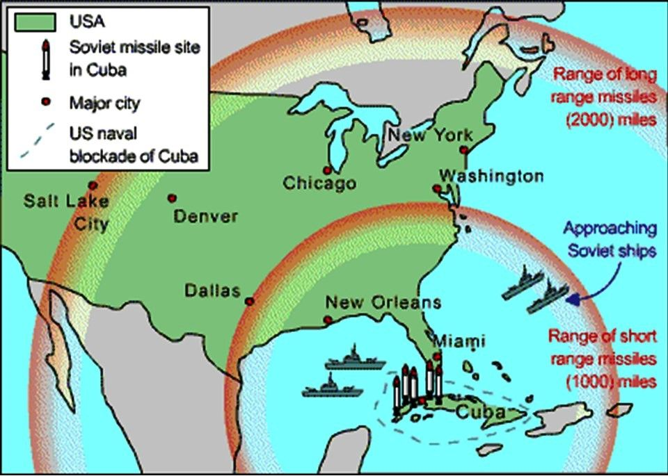 Range Of Cuban Missiles And US Naval Blockade Broken Line - Us and cuba map