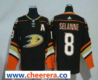 81d366882 Men s Anaheim Ducks  8 Teemu Selanne Black With A Patch 2017-2018 Hockey  Stitched NHL Jersey