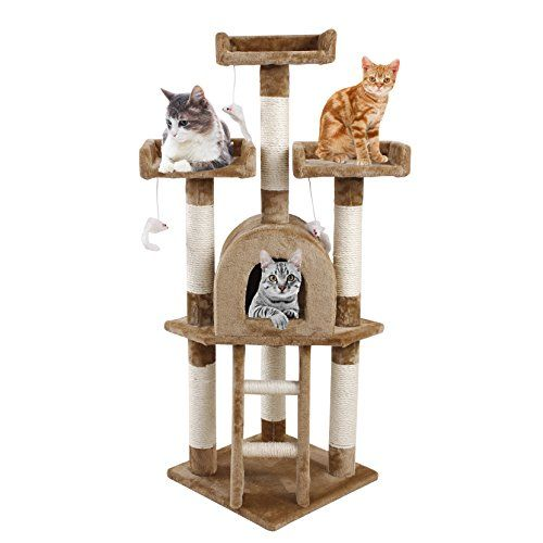 Andeworld Large Cat Trees Condo House Furniture For Cats And Kittens Cats Climb Jump And Sleep Playground Brow Cat Tree Condo Large Cat Tree Cat Bed Furniture