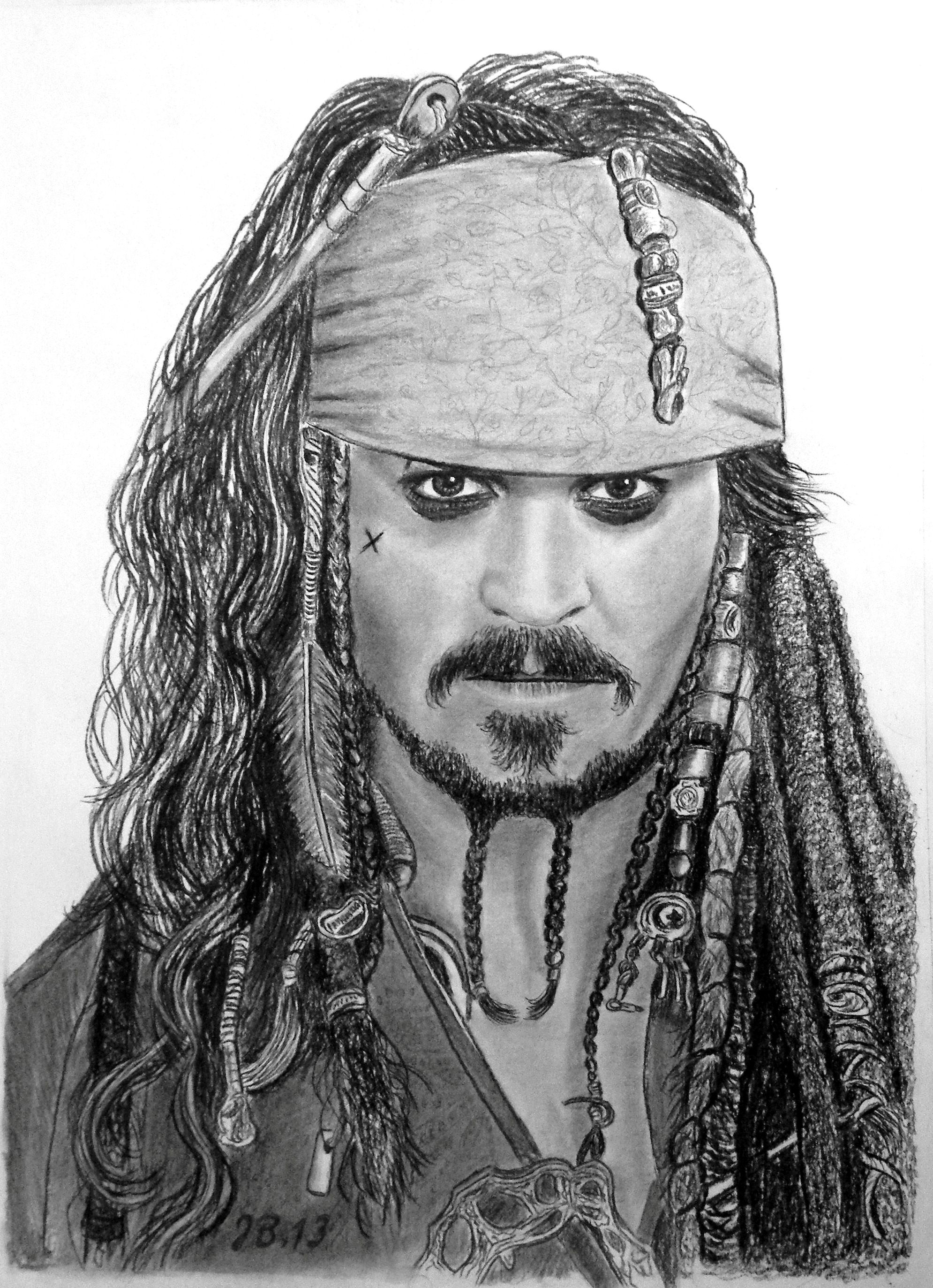 Jack Sparrowithjohnny Depp Houtskool Tekeningen Johnny