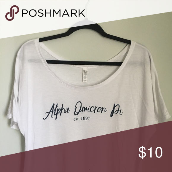 Alpha Omicron Pi, AOII shirt Medium white slouch AOII sorority top alpha omicron pi Tops Tunics