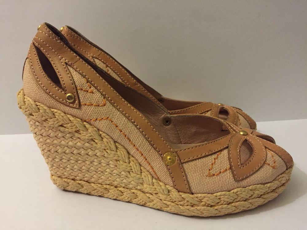 c401469e0 Ted Baker Women s Studded Textile Leather Upper Wedge Sandals Size 7M   TedBaker  PlatformsWedges