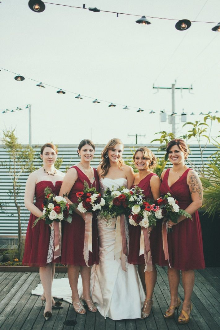 Dark Red Bridesmaids Dresses #bridesmaids #bridesmaidsdresses #darkred