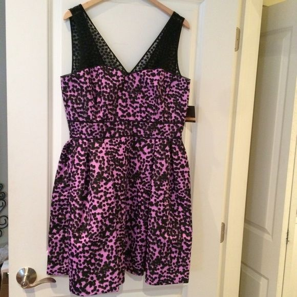 Never worn cocktail dress! Tag is still on! Magenta-pink with black polka dots and sheer polka-dotted steals. Fit and flare shape that perfect for your upcoming events! Taylor Dresses