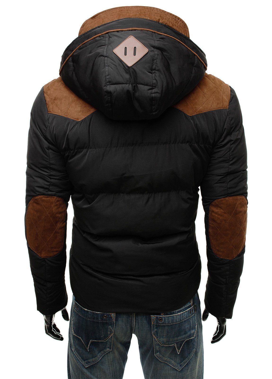 OZONEE Herren Jacke Warme Winterjacke Steppjacke mit Kapuze