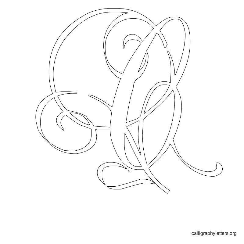 Calligraphy Letter Stencil C Fonts Pinterest