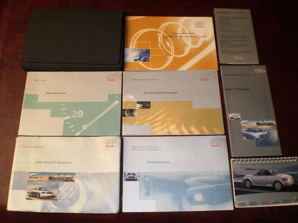 2001 01 Audi Tt Roadster Complete Car Owners Manual Books Quick Guide Case All Audi Tt Roadster Roadster Car Car Owners Manuals