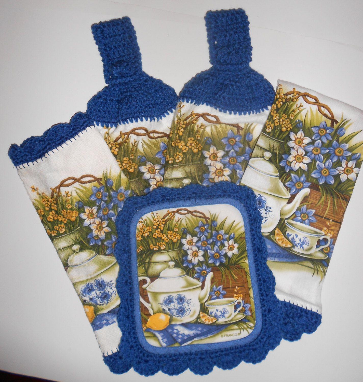 kitchen towel set crochet trim hanging towels pot holder dish