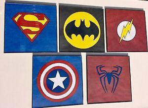 Original Superhero Logo Art Lot Superman Batman Spider Man Flash CPT America Lot   eBay