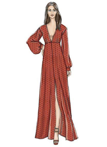 Patron Vogue 9311 Robe femme décolleté V taille haute VOGUE Very Easy Patterns – du 34 au 50