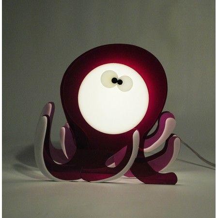 Lampada Octopus. Lampada da tavolo o da comodino per camerette bambini. #design #plexiglass #designtrasparente #online #bambini #illuminazione #kids