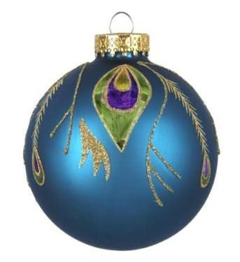 Peacock Design Glass Ball Ornament, Set of 3 $1328 www - peacock christmas decorations