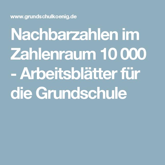 Nachbarzahlen im Zahlenraum 10 000 - Arbeitsblätter für die ...
