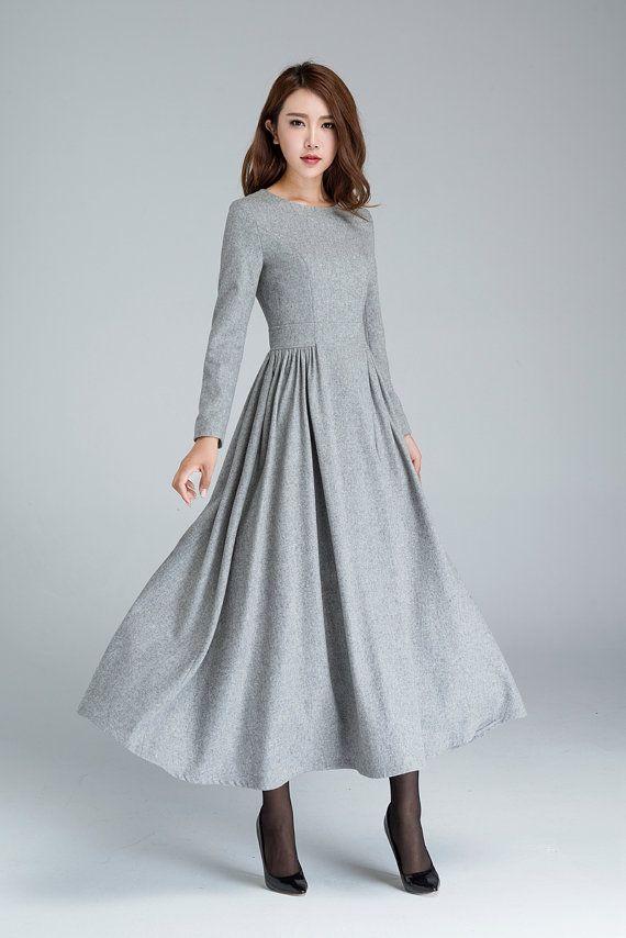 wool dress pleated dress grey dress long dress winter by xiaolizi