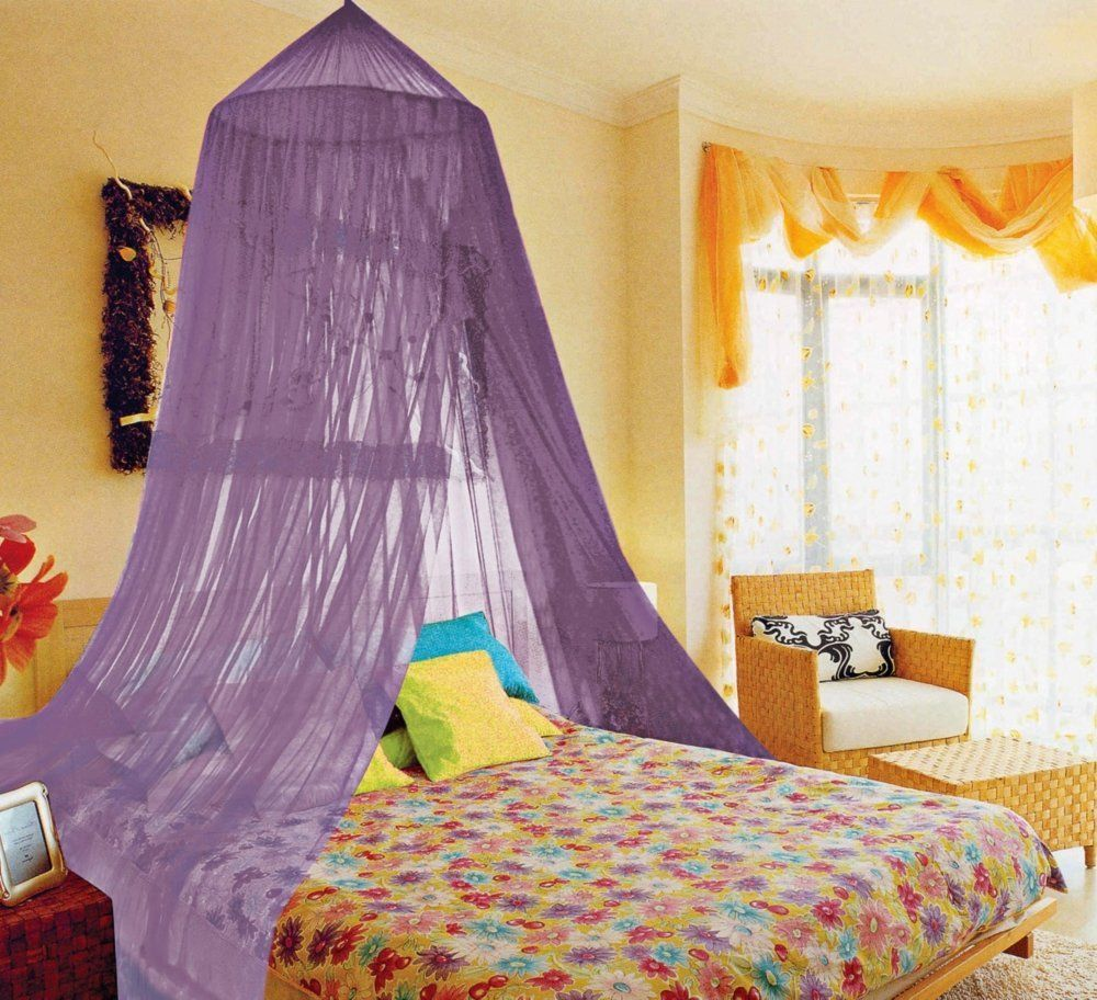 funny canopy bed decor for girls with yellow wall paint color and lovely purple curtains canopy and colorful flowers motif bed also yellow arm chairs near - Yellow Canopy Interior