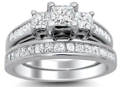 1 70ct Princess Cut 3 Stone Diamond Engagement Ring Bridal Set 14k White Gold Front