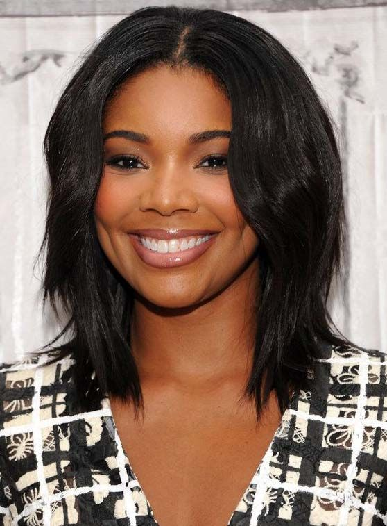 Charming Gabrielle Union Medium Wavy Lace Front Human Hair Wig 14 Inches