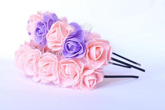5 Mini Purple Roses Artificial Hair Flower Pins AsgSSpAG