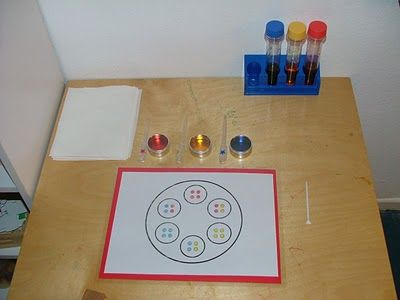 Love this color mixing idea!  Good blog too, although I don't agree with all the activities.