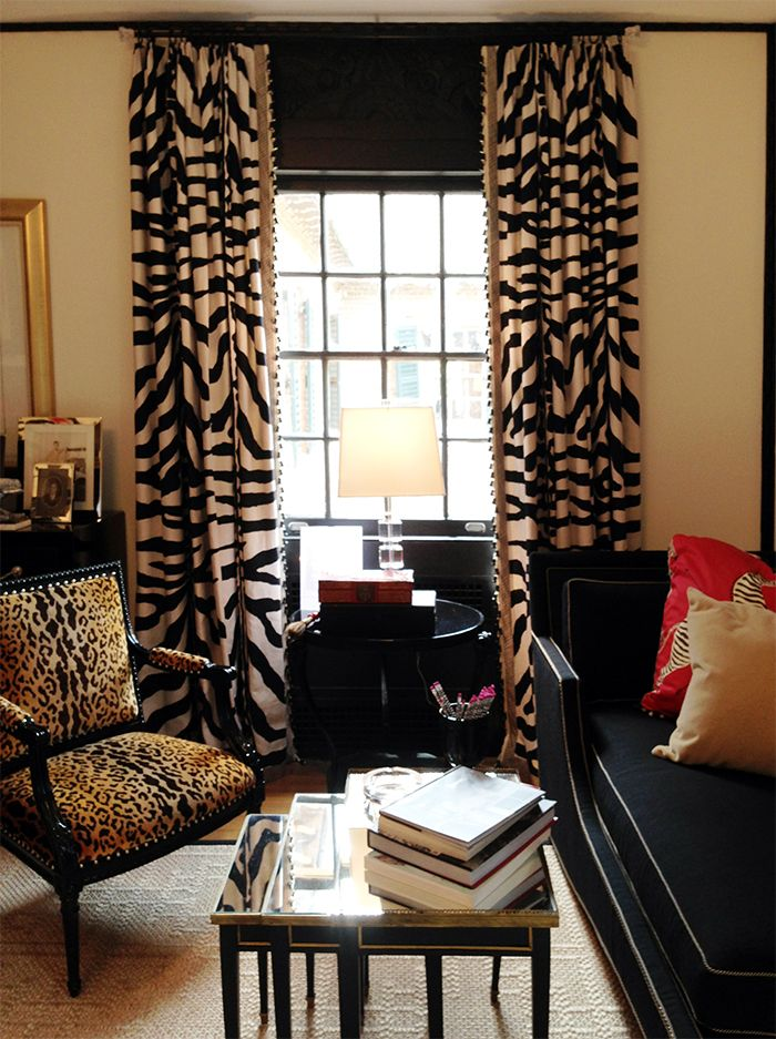 Room of the Day: This room makes black look cozy with the cream, gold. Zebra  CurtainsWindow CurtainsPrinted ...