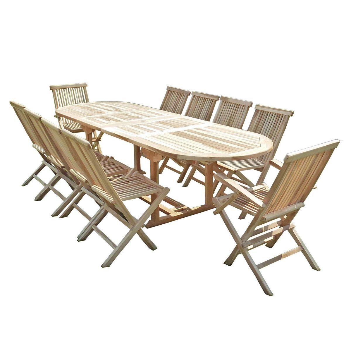 Salon de jardin en teck HENUA 8 chaises 2 fauteuils ...