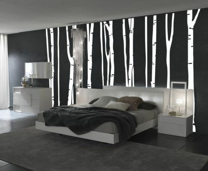 1001 muster schwarz wei lassen sie eine wandgestaltung. Black Bedroom Furniture Sets. Home Design Ideas
