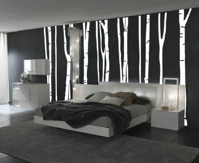 wandgestaltung schwarz wei schlafzimmer einrichten weiss. Black Bedroom Furniture Sets. Home Design Ideas