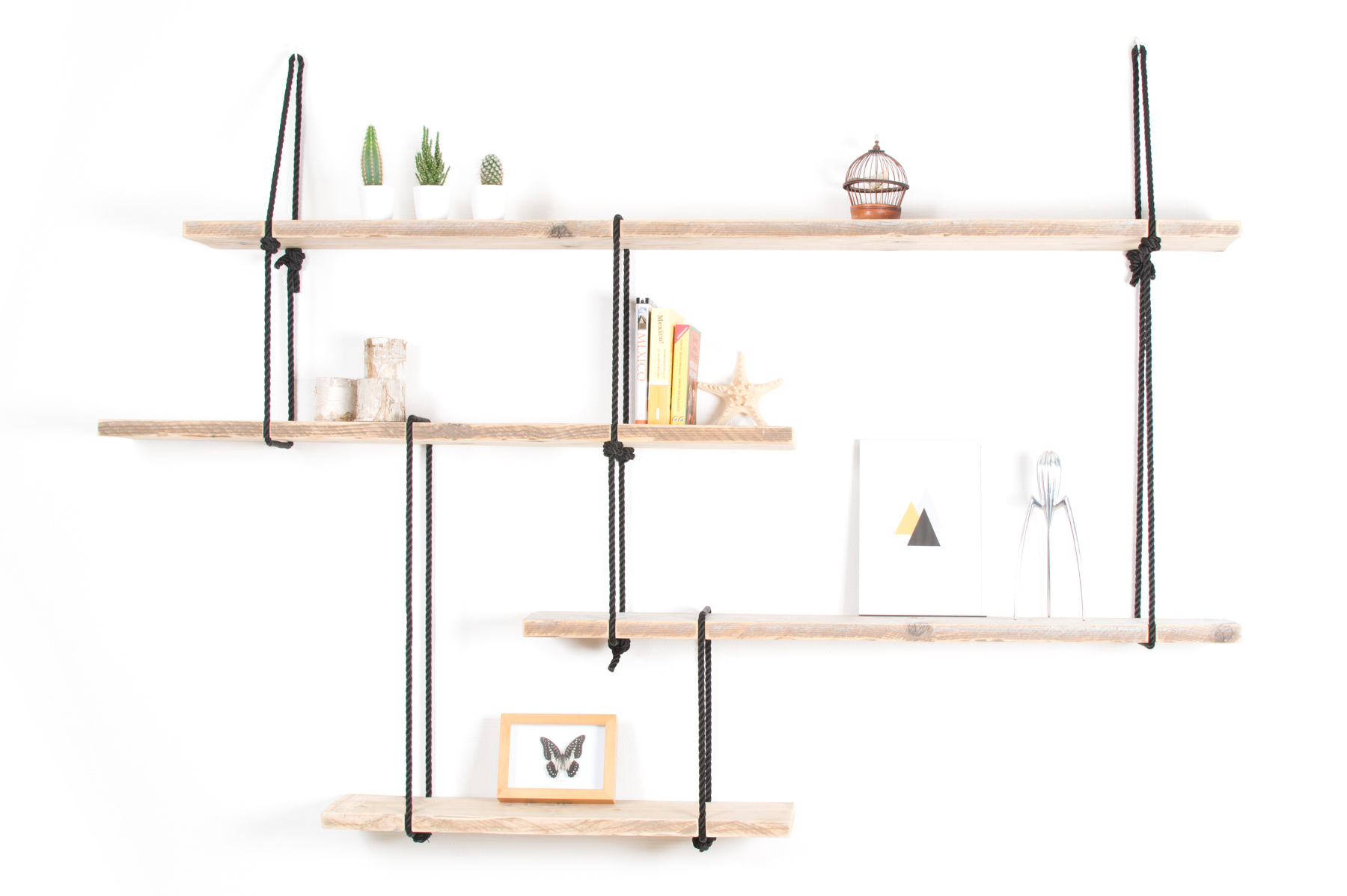 Luuk van Vliet | Rope Installation | rope and wood shelving, handmade  and designed in the Netherlands.