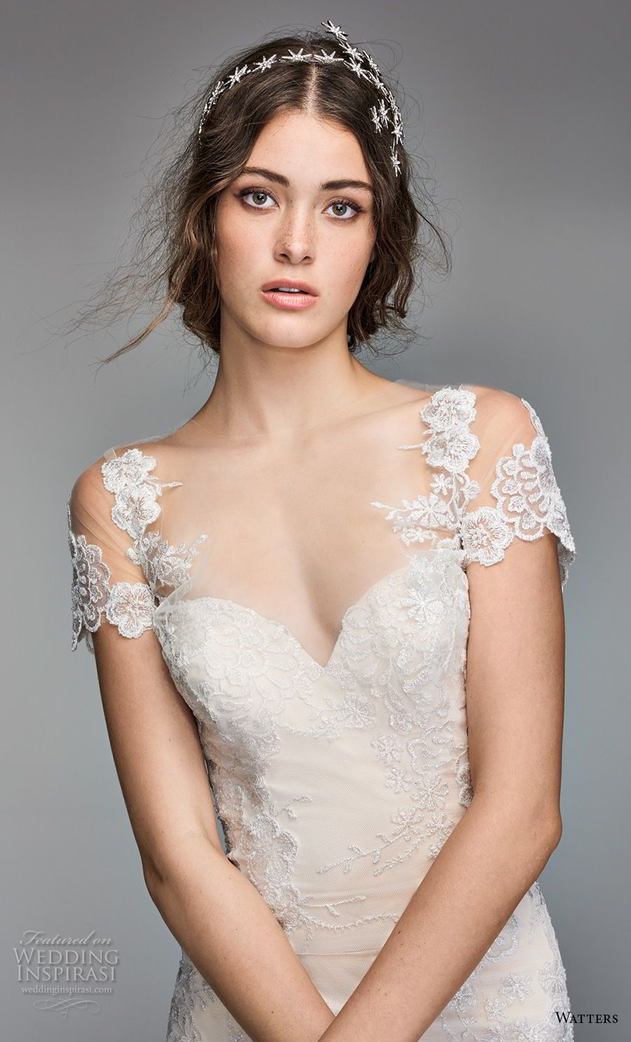 Short lace wedding dress with train  Willowby by Watters Spring  Wedding Dresses  Đám cưới