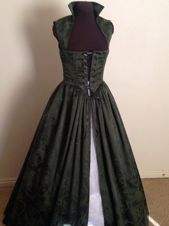 Forest Green Damask Christmas Renaissance Over Gown by desree10