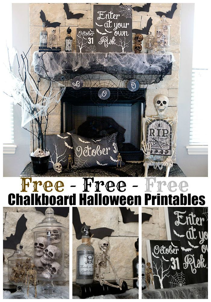 FREE Halloween Decoration Printables - Mantel Decor - Spooky