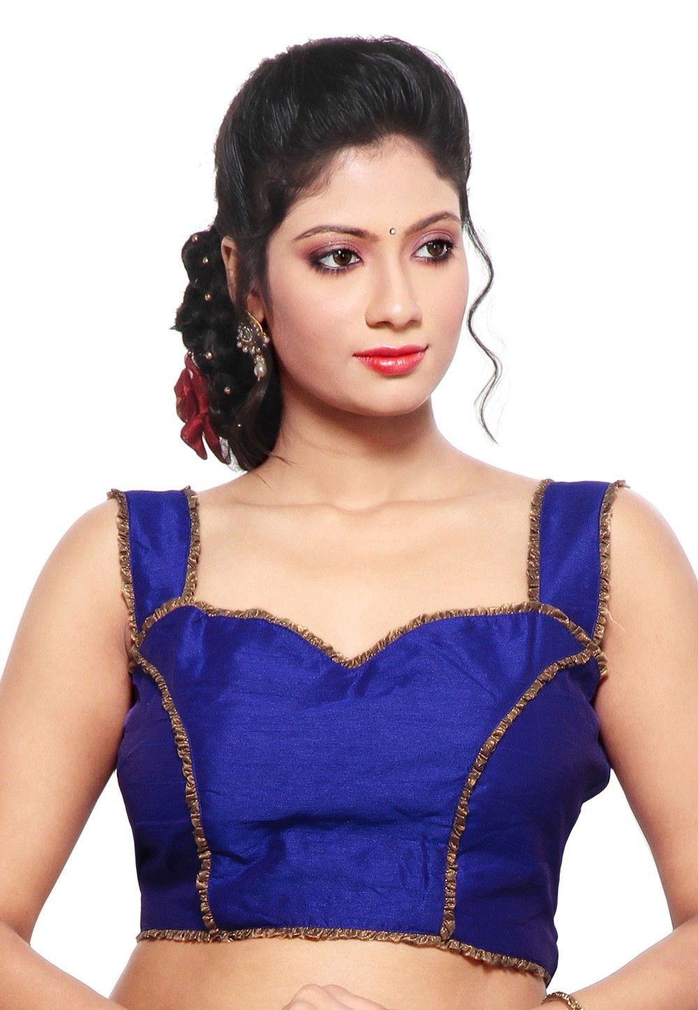 4cf4d82b6102a2 Dupion silk blouse in royal blue Padded blouse and lace work Sleeveless and  sweetheart neck Cotton lining and back open Back in deep neck with tassels