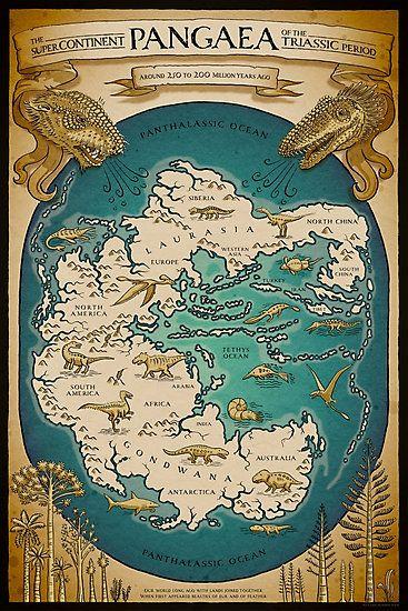 'Karte des Superkontinents Pangaea' Fotodruck von Richard Morden