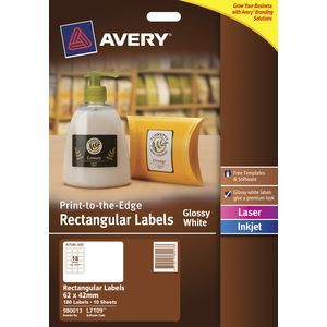 avery glossy white rectangular product labels l7109 pk180 62 x 42 mm confetti box