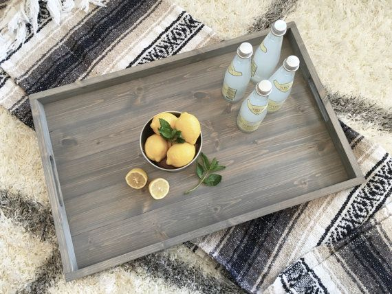 Wooden Tray Decor Pleasing Rustic Wooden Ottoman Tray Ottoman Traydunnrusticdesigns Inspiration