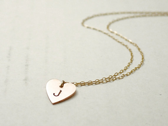 Personalized heart necklace - small copper charm hand stamped - delicate jewelry