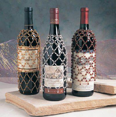 I Love My Beaded Wine Bottle Cover Wine Bottle Jewelry Wine Bottle Decor Wine Bottle Covers