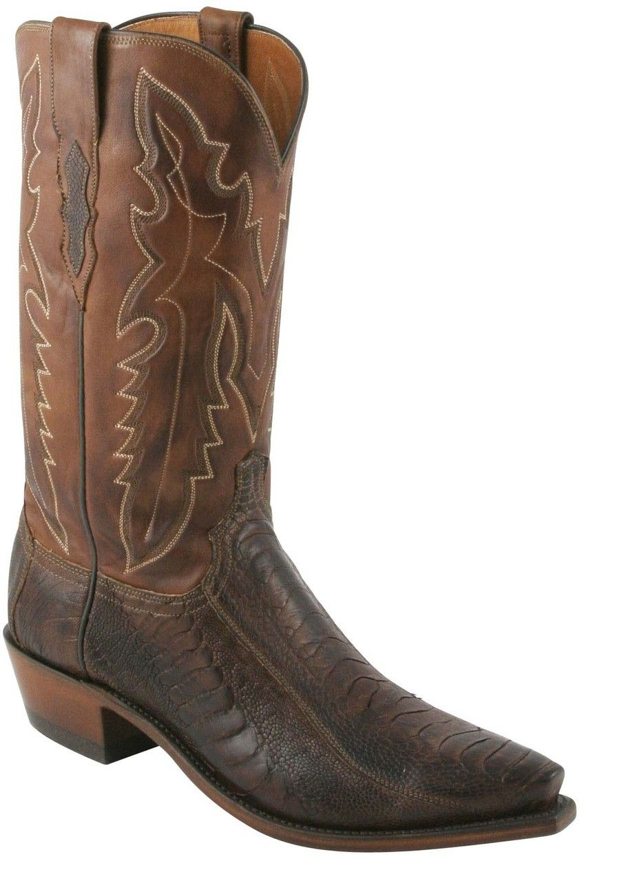 6961f1b1d54 Lucchese Heritage Mens Anson Chocolate Matte Burnished Ostrich Leg ...