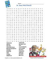 Dr. Seuss Word Search Worksheet: THEODOR, SEUSS, GEISEL, SPRINGFIELD ...