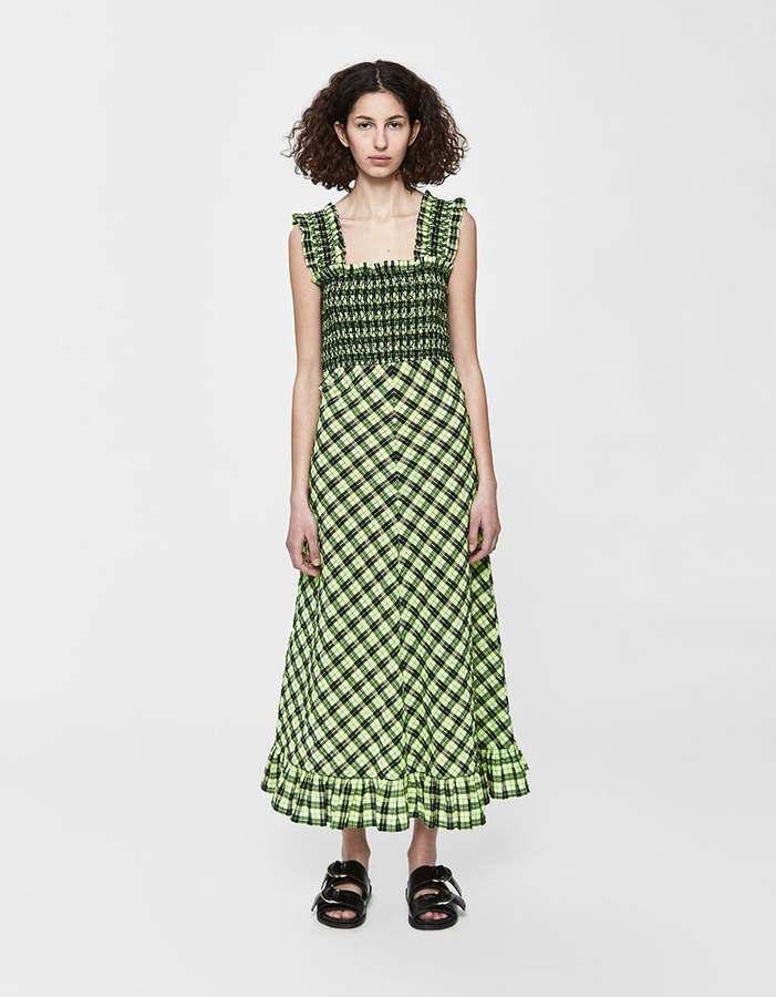 ganni seersucker check maxi dress green