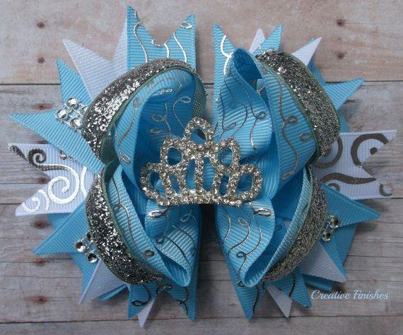 Cinderella Tiara Bow Princess Blue Silver by CreativeFinishesBows