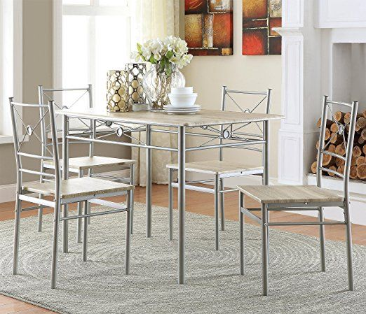 Coaster 100035 Home Furnishings 5 Piece Dining Set Brushed Silver Kitchen Table Settings Rectangular Dining Set Rectangular Dining Table