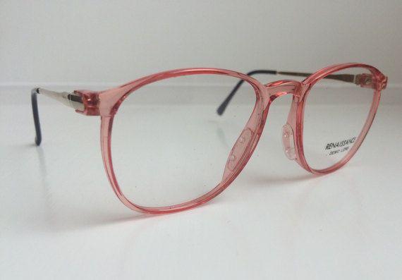 Vintage Pink Eyeglass Frames - Oversized Wayfarer Eyeglasses - Small ...
