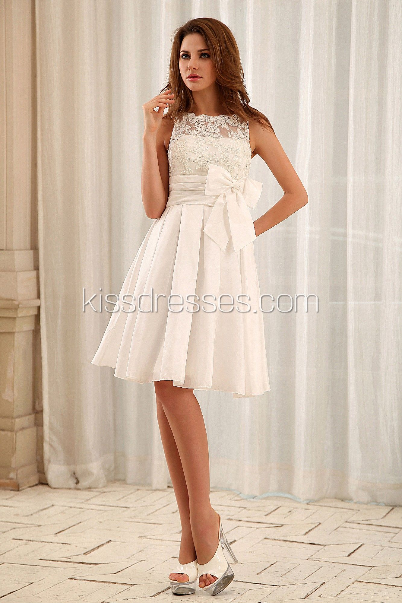 Simple elegant beach short knee length with taffeta fabric wedding