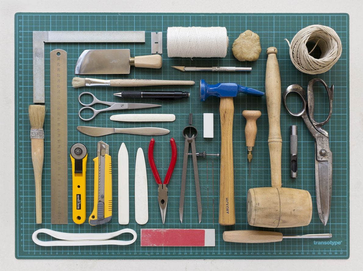 Things Organized Neatly Tools used for Bookbinding