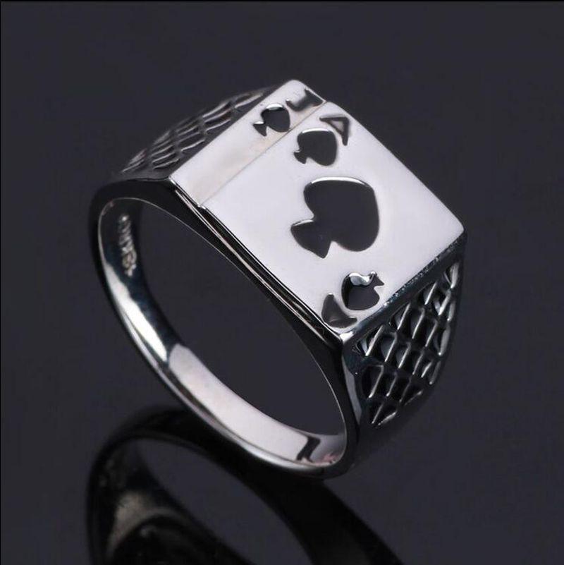 땅딸막 한 합금 블랙 에나멜 스페이드 포커 반지 남성 J 패션 성격 재생 카드 반지 빈티지 멋진 남성 보석 반지