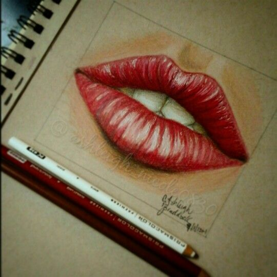 Red Lips Colored Pencil Drawing Lip Pencil Colors Lips Drawing